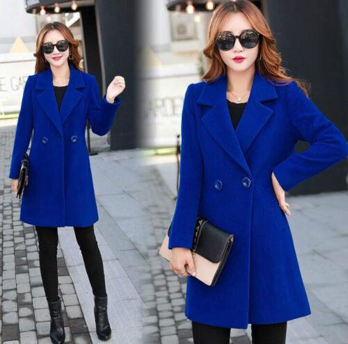 Women/'s Warm Wool Blend Double Breasted Long Overcoat Jacket Trench Coat Outwear