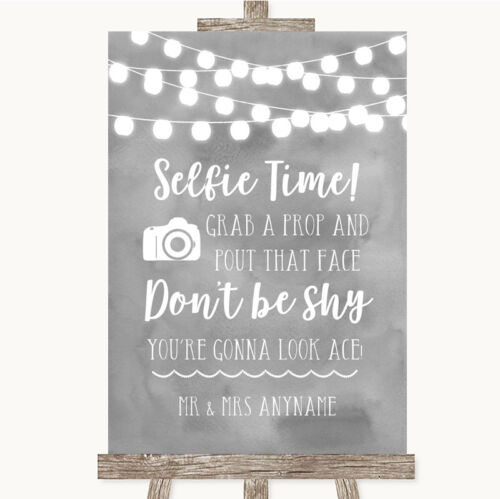 Wedding Sign Poster Print Grey Watercolour Lights Selfie Photo Prop