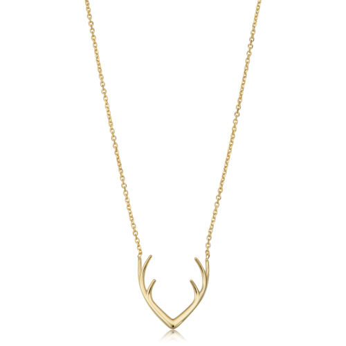 """18/"""" 14k Yellow Gold Antler Adjustable Necklace"""