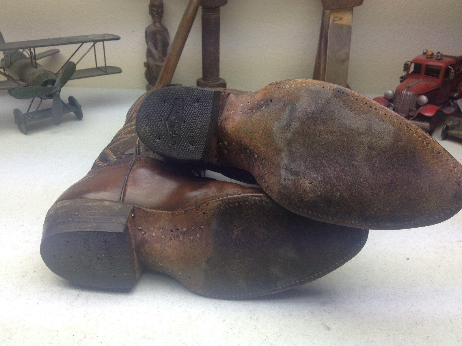 Vintage Nacona Marrón De De De Cuero Hecho En Usa Western Cowboy Ingeniero botas 10,5 B 8d8432