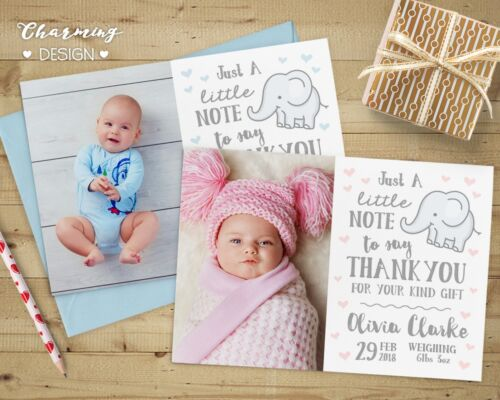 Christening Personalised Photo Thank You Cards ~ Baby Boy or Girl Birthday