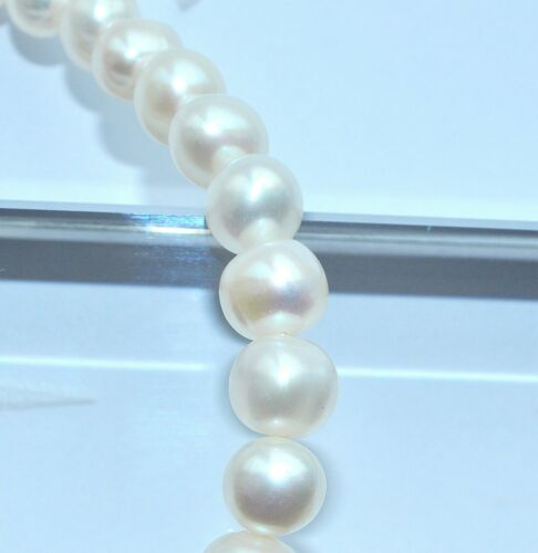 aproximadamente 7-8 Mm 50pcs Blanco natural de agua dulce perla redonda granos de ninguna modificación