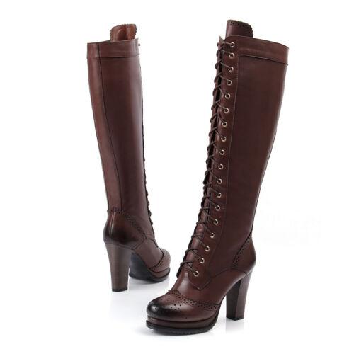 Mesdames Knee High Military Combat Boots lace up Block Talons Femme Richelieu à Chaussures