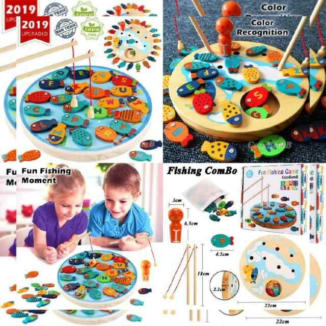 Alphabet Fish... CozyBomB Magnetic Wooden Fishing Game Toy for Toddlers