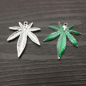 Wholesale 10//50Pcs Green Enamel Marijuana Leaf Cannabis Weed Charm Pendants