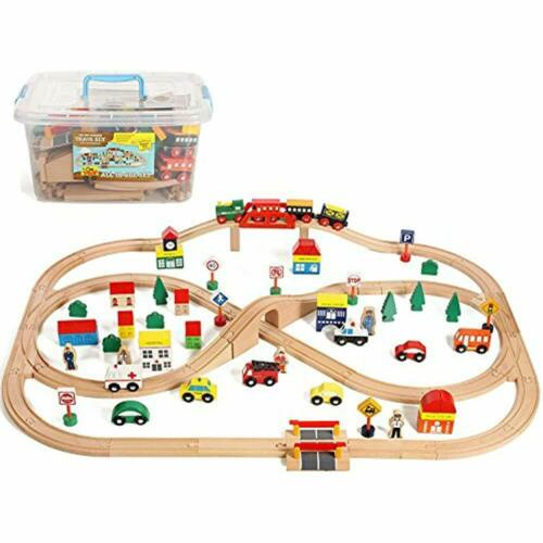 Train Sets On Track USA 100 Piece All One Wooden Accessories Comes Clear Major