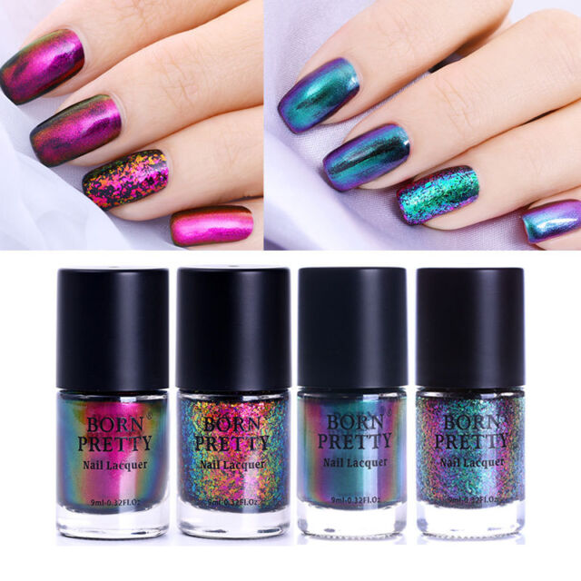 4pcs/set Starry Chameleon Polish Nail Art Laser Sequins Polish Kit Born Pretty