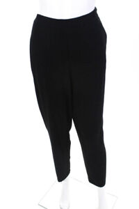 Eileen Fisher Womens Organic Cotton Mid Rise Straight Fit Pants Black Size Large