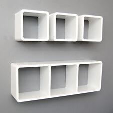 4er Set Lounge Cube Regal Design Retro Wandregal Standregal Hängeregal Weiß Matt