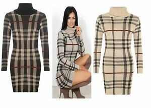 NEW-WOMENS-POLO-NECK-TARTAN-CHECK-KNITTED-LONG-SLEEVE-BODYCON-JUMPER-TUNIC-DRESS