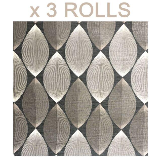 Silver Grey Retro Lantern Wallpaper Lines Symmetry Modern Black AS Creation x 3