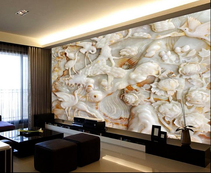 3D Reiher-Pfingstrose 7 Tapete Wandgemälde Tapete Tapeten Bild Familie DE Summer