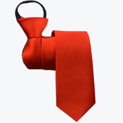Men Zipper Striped Necktie Fashion Business Formal Wedding Party Slim Neck Tie