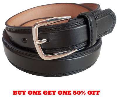Men/'s Plain Black Leather Casual Dress Belt With Removable Snap On Black Buckle