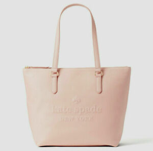 NWT-Kate-Spade-Larchmont-Ave-Logo-Penny-Pink-Beige-Leather-Large-Tote-WKRU5619