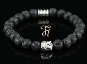 Lava-Armband-Bracelet-Perlenarmband-Buddhakopf-silber-8mm