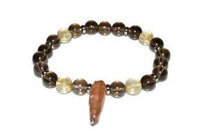 Citrine-Smokey-Quartz-Bracelet-with-Tangerine-Aura-Natural-Gem-Stone-Revitalize