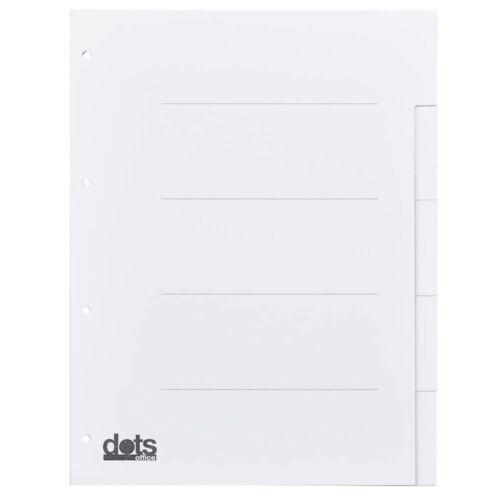 dots Register DIN A4 blanko weiß 5-teilig Karton Ordner Trennblätter Ablage!