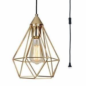 Details About Seeblen Champagne Gold Hanging Light Modern Plug In Pendant With 15 Ft