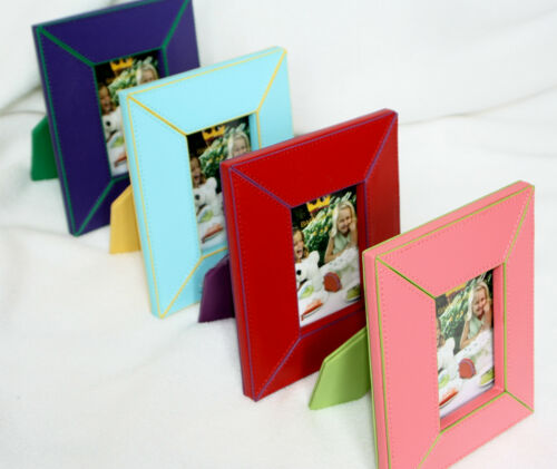 Baekgaard Leather Photo Frames Fits 2 X 3 inch Pictures NEW Violet Cherry Red