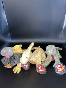 Rare Beanie Babies Scaley, Slayer, Tooter Reptile Special Edition