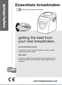 morphy richards bread machine manual 48245 48246 48248 48260 48261 rh ebay co uk morphy richards breadmaker model 48245 manual Morphy Richards Store