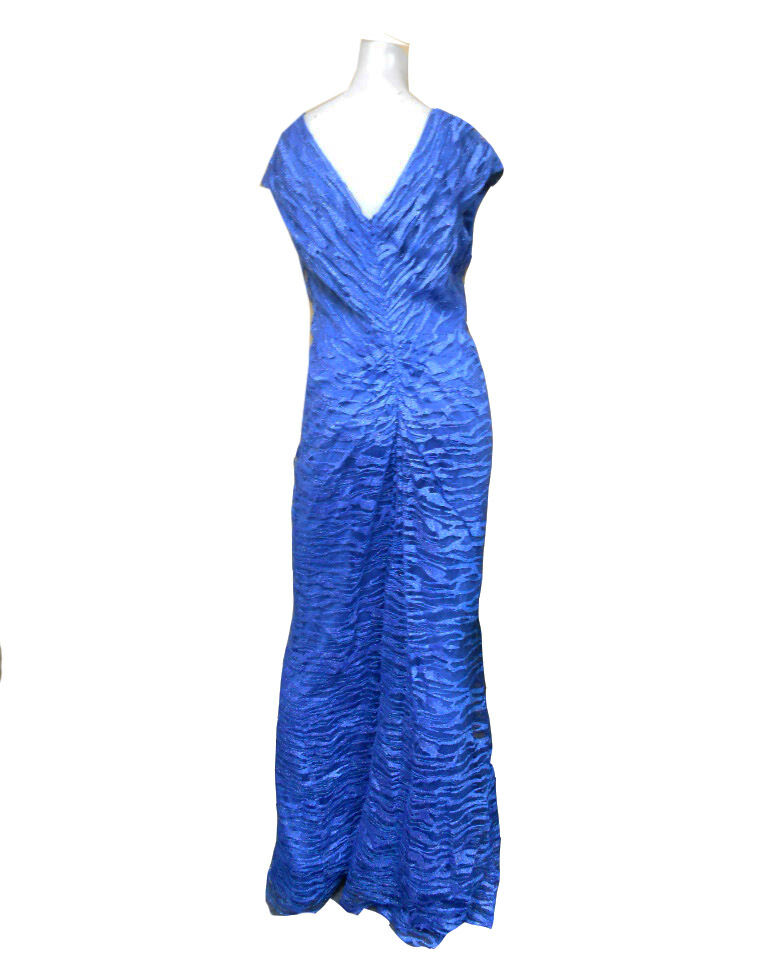 NWT TADASHI SHOJI Water OCEAN blueE blueE blueE Embroidery on Tulle Draped GOWN Size - 8 491154