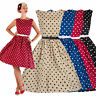 Retro Womens Polka Dot Swing 50s Housewife Pinup Vintage Rockabilly Party Dress