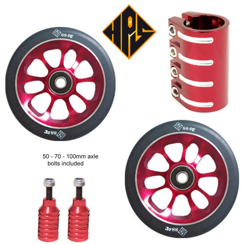 STUNT SCOOTER SET 2 110mm RED METAL CORE WHEELS ABEC 11 BEARING PEG QUAD CLAMP