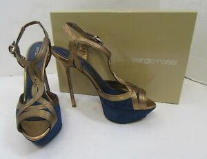 SERGIO ROSSI $795 Bronze and Blue