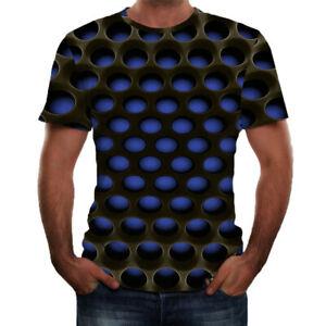 Men-039-Summer-3D-Printed-Short-Sleeves-Comfort-Blouse-Sports-Top-T-Shirt-Plus-Size