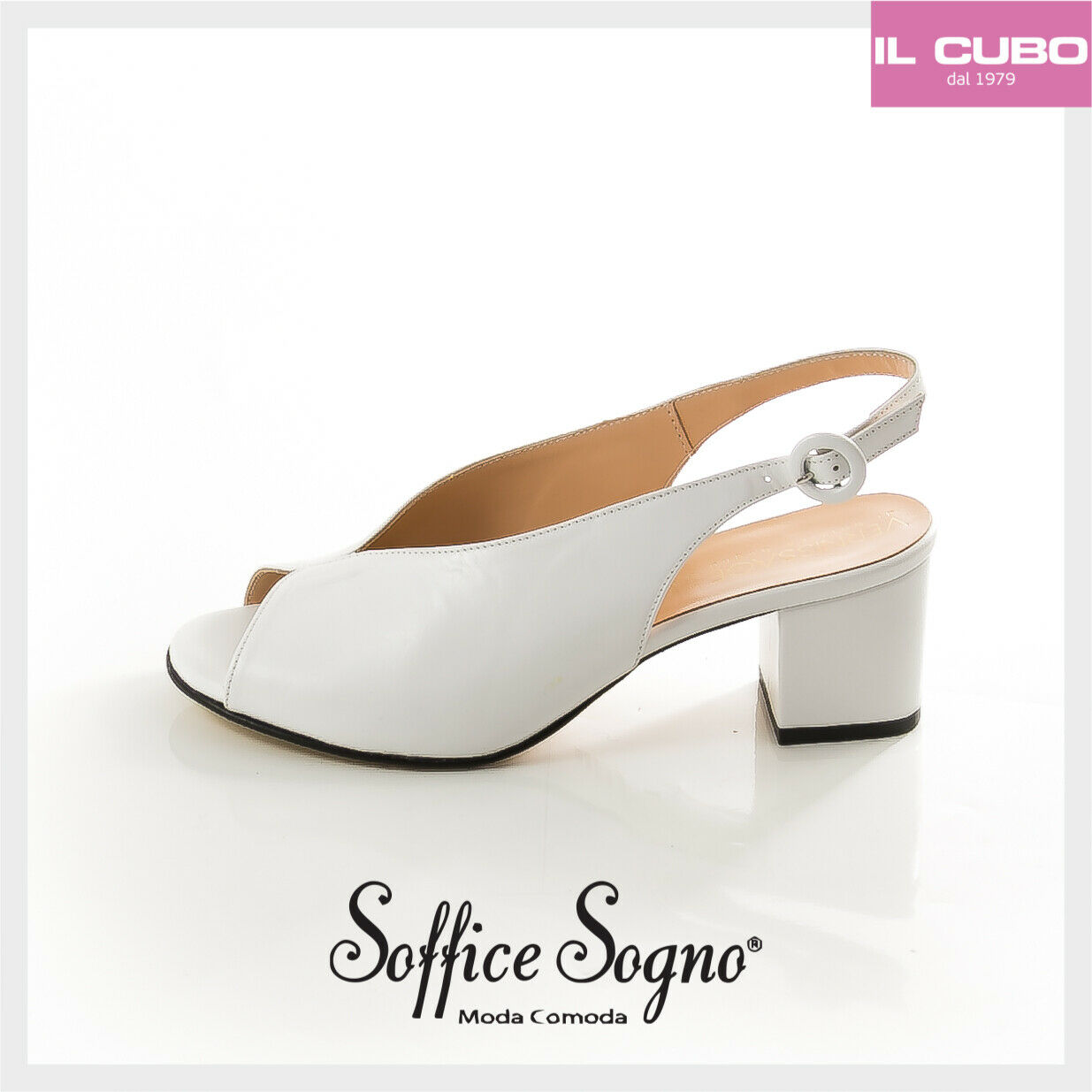 SANDALO DONNA SOFFICE SOGNO PELLE ColoreeeeeE BIANCO TACCO H 6 CM MADE IN ITALY