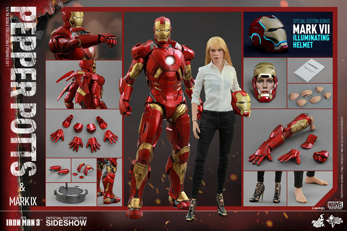 Hot Toys Iron Man 3 Pepper Potts + Mark IX 12