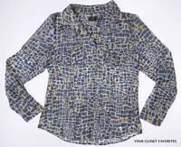 Lark Lane Womens Size 8 Button Down Shirt Shiny Sheen Convertible Sleeve Medium