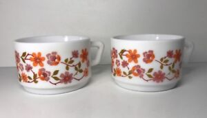 Lote-2-Tazas-Vintage-Arcopal-Francia-D-7-5-Cm-Flores-Naranja-Ver-Fotos