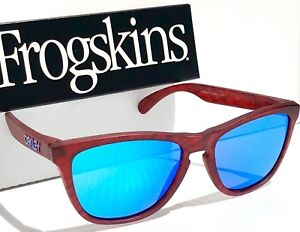 cd655a3c1d NEW  Oakley Frogskins Matte Red Woodgrain w Sapphire Blue Iridium ...