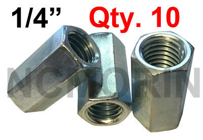 "Qty Coupler. 50 Hex Coupler Nuts 1//4/""-28 x 7//8/"" Threaded Rod Connectors Zinc"