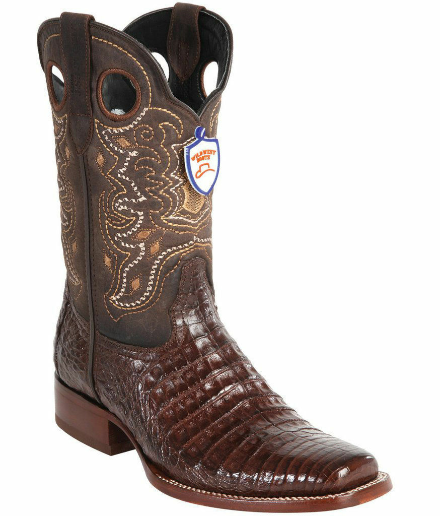 Wild Marron WEST Crocodile Belly Cowboy démarrage Rodeo-Square-Toe (extra large)