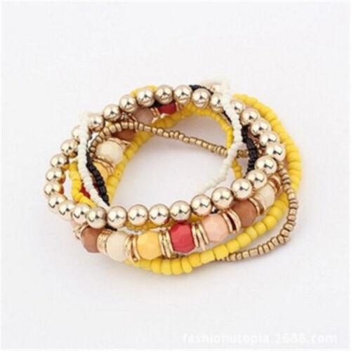 New Style Beaded Bracelet Bohemia Stretch Multilayer Flower Charm Bangle