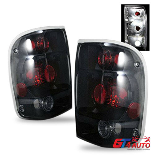 Altezza Style Black Smoke Rear Brake Tail Lights Pair for 1998-2000 Ford Ranger