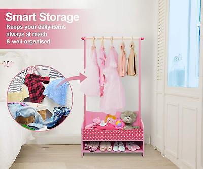 Details About Cute Pink Princess Wooden Garment Rack Baby Functional Kids Storage Clothes