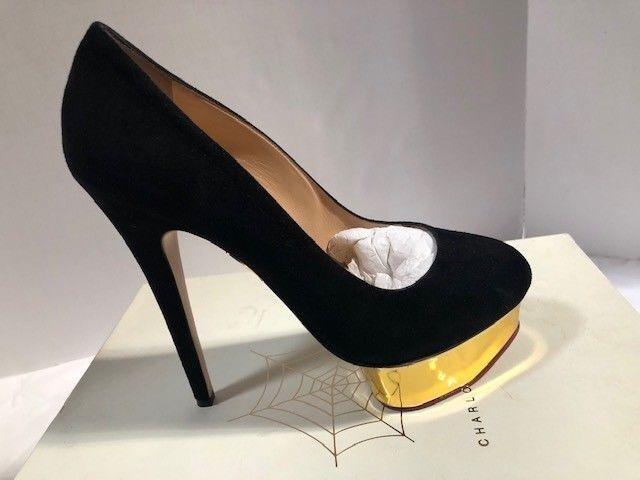 Women's Women's Women's NIB Charlotte Olympia Dolly Basic Black-gold Size 8 089fad