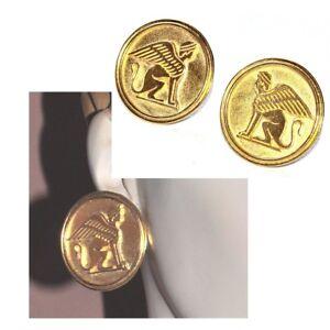 Adaptable Grosses Boucles D'oreilles Clip De Couleur Or Sphinx Mythologie Bijou Earring