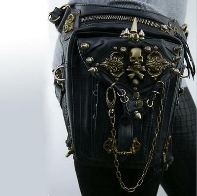 Men Women Skull Rock Leather&Vintage Gothic Punk Steampunk Shoulder Waist Bag