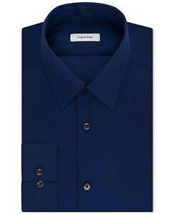 NWT $99 CALVIN KLEIN Men SLIM-FIT BLUE LONG-SLEEVE BUTTON DRESS SHIRT 16 32/33 L