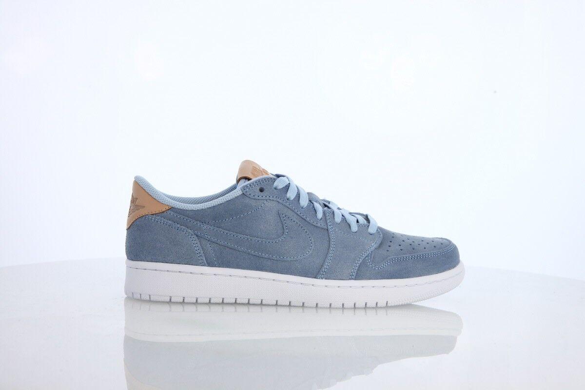 Nike air jordan retrò 1 basso og prem blu ghiaccio vachetta tan 905136-402 uomini, 8 - 9