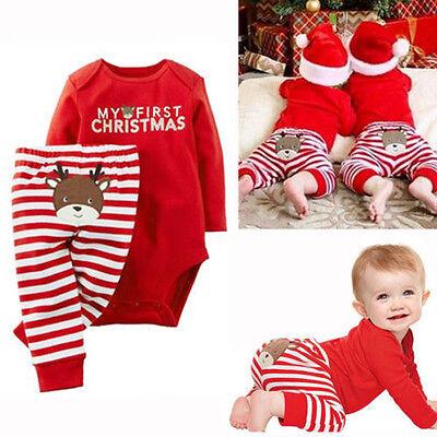 Bodysuit+Pants Clothes Outfits Set Xmas Newborn Baby Boys Girls Romper Jumpsuit