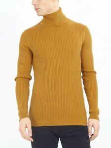 Men-s-Ribbed-Roll-Neck-Jumper-Black-Camel