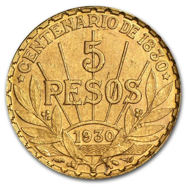 1930 Uruguay Gold 5 Pesos AU (AGW .2501) - SKU #14243