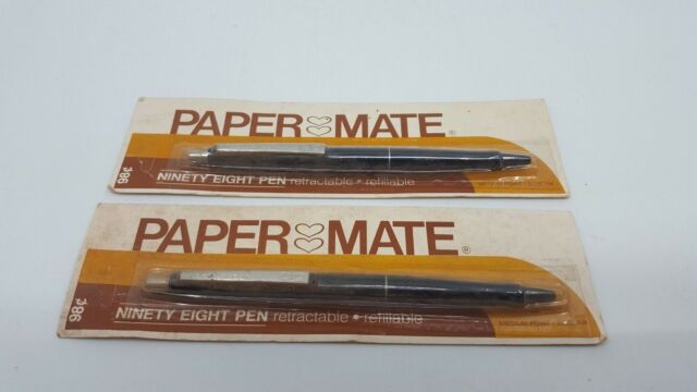 2X PAPER MATE PEN REFILLABLE RETRACTABLE DOUBLE HEART NINETY EIGHT UNPUNCHED